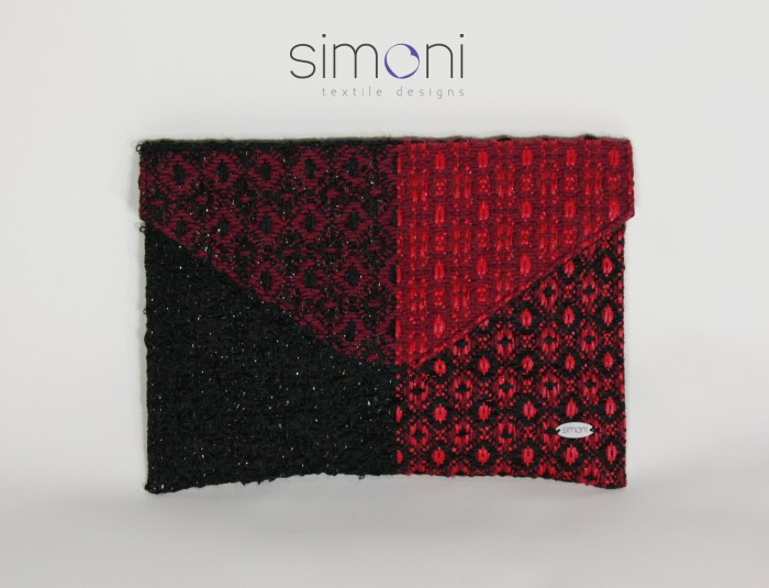 Black and Red hand-woven envelope