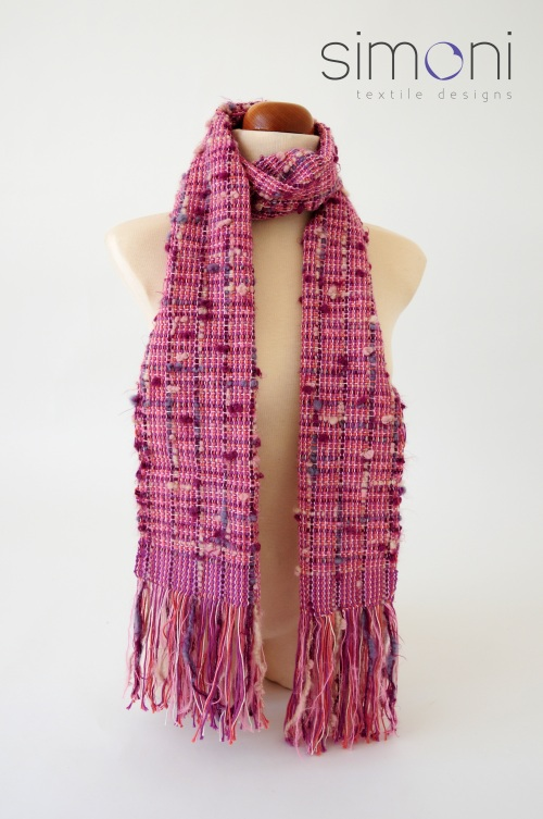 Sweet Rose hand-woven scarf