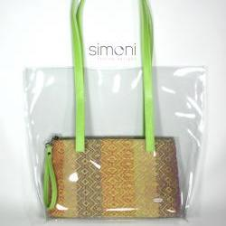 I love Colours plastic bag with hand-woven purse (green)